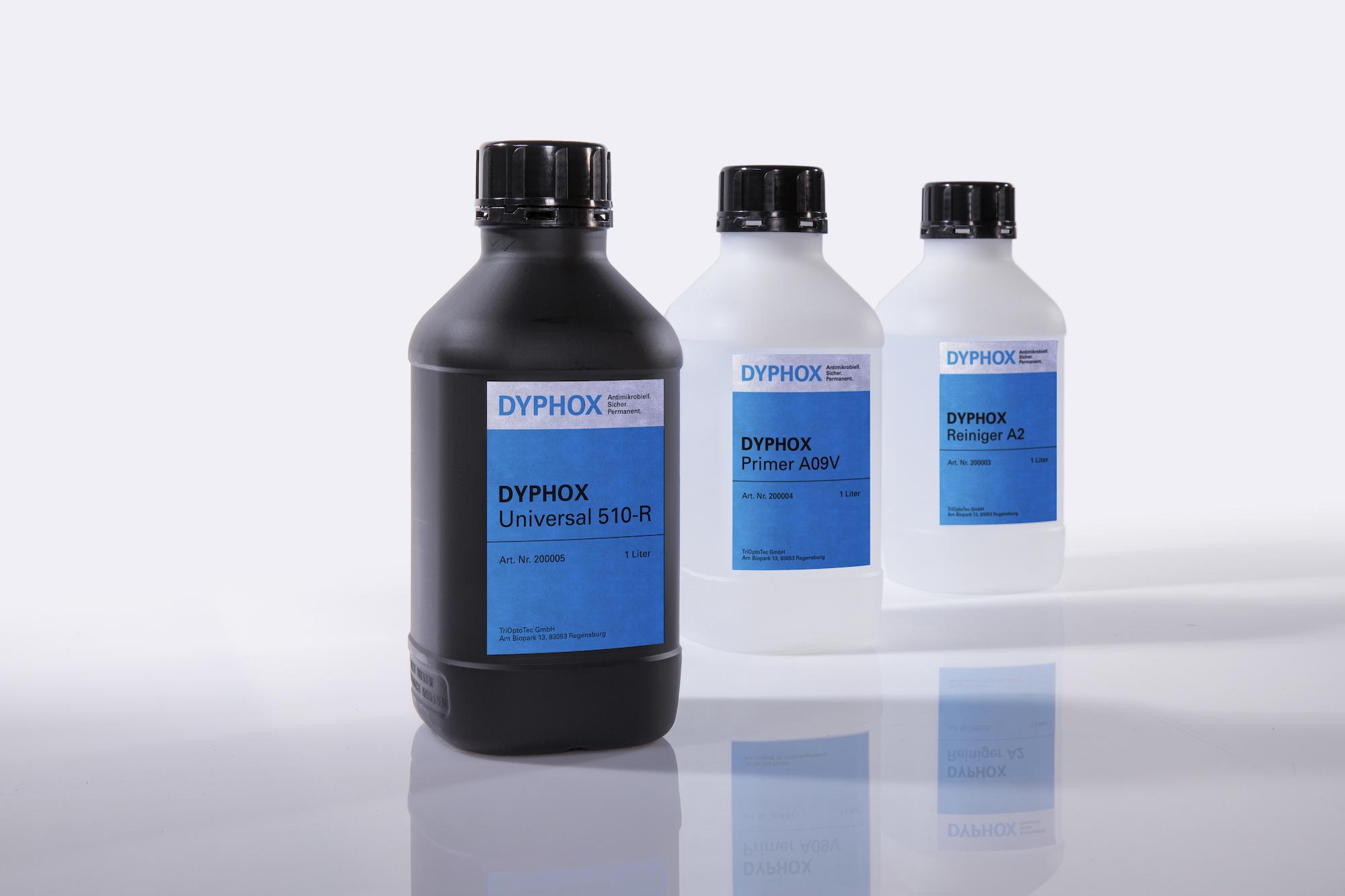 Drei Flaschen, die Dyphox enthalten.