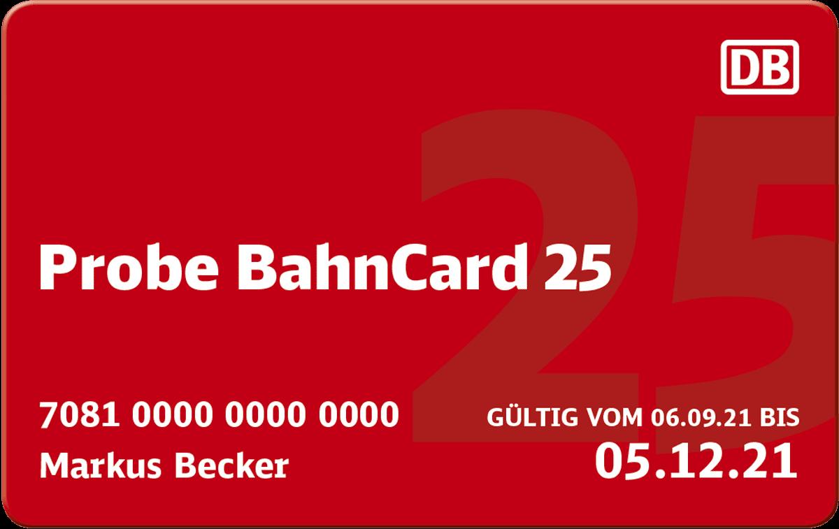 Bild einer Probe BahnCard 25
