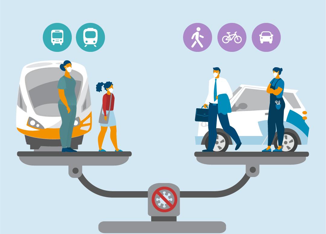 In einer Animation steht der ÖPNV auf einer Waage dem Individualverkehr gegenüber.