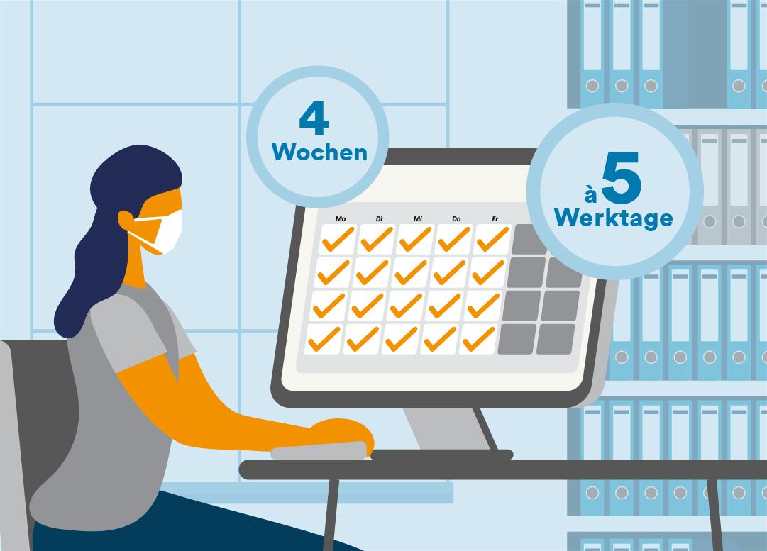 Illustration einer Frau, die am Rechner sitzt und auf einen Kalender schaut.