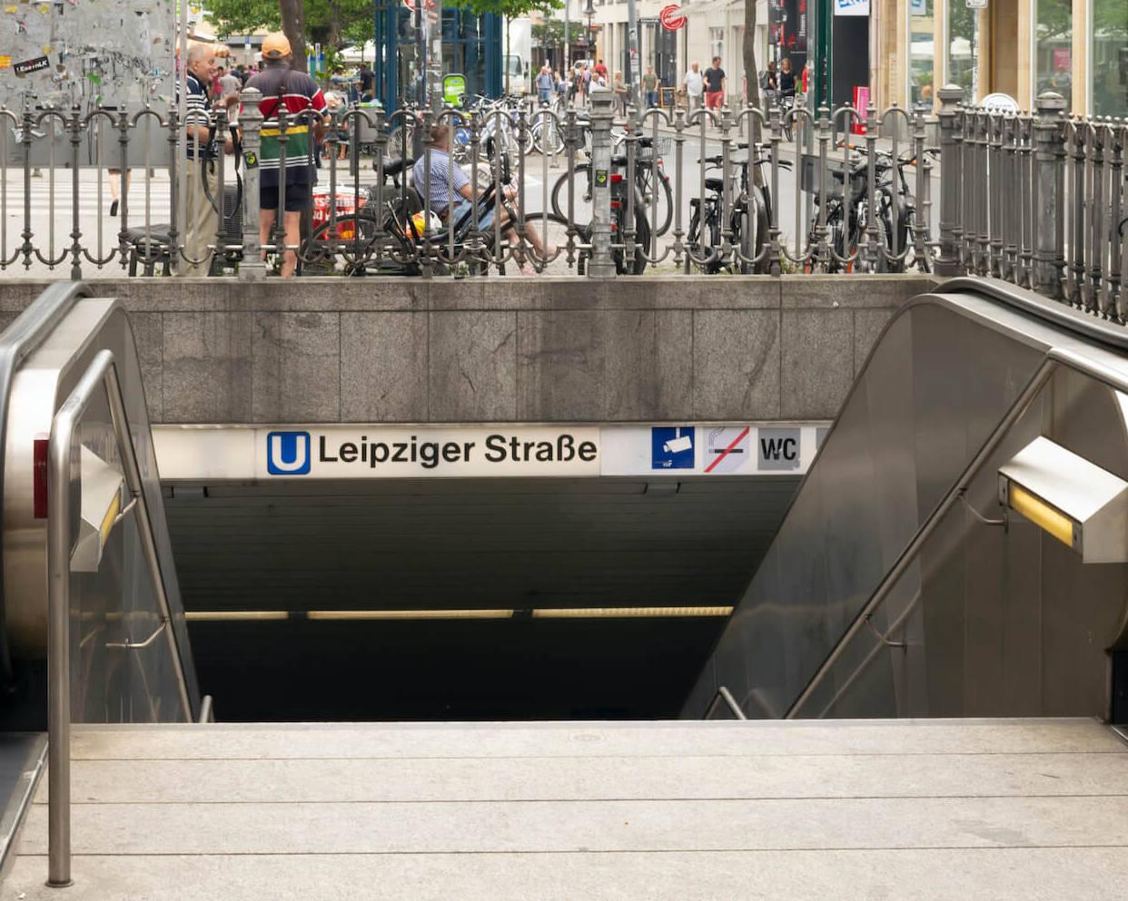 U-Bahn-Eingang Leipziger Straße in Frankfurt