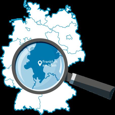 Deutschlandkarte mit Fokus auf das Gebiet des Rhein-Main-Verkehrsverbunds (RMV)