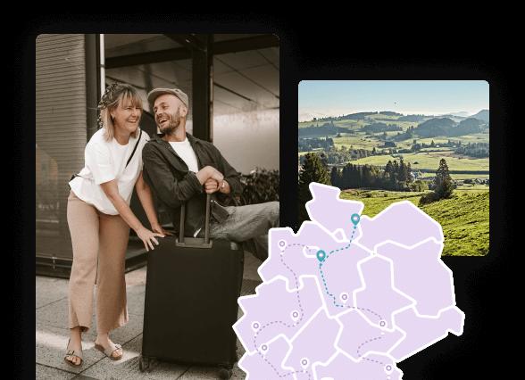 Kollage bestehend aus Bildern des Influencer-Pärchens zweidiereisen, einer Deutschlandkarte und eines Ausflugsziels